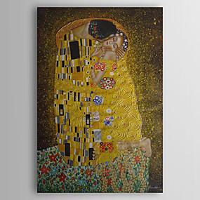 billige Andre Berømte Malerier-håndmalt oljemaleri kysset av gustav klimt med strukket ramme
