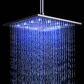 cheap LED Faucets Series-Contemporary Rain Shower Brushed Feature - Rainfall LED, Shower Head