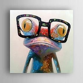 halpa Abstraktit maalaukset-käsinmaalattu öljymaalaus eläin pop art onnellinen sammakko lasit kankaalle seinä art