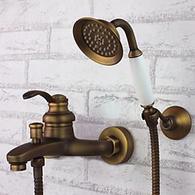 cheap Shower Faucets-Shower Faucet - Antique Antique Brass Tub And Shower Ceramic Valve Bath Shower Mixer Taps / Single Handle Three Holes