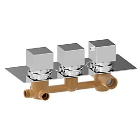 저렴한 90% 할인-샤워 수전 - 콘템포라리 크롬 벽내장 브라스 발브 Bath Shower Mixer Taps / 황동 / 세 핸들 세 개의 구멍