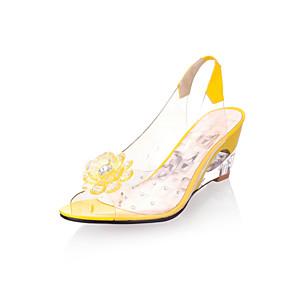 povoljno Ženske platformske cipele-Žene Sandale Poluga pete Wedge Heel Peep Toe Guma Svjetleće tenisice Proljeće / Ljeto Bijela / Crvena / Plava