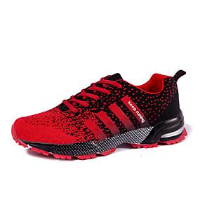 baratos Sapatos Esportivos Femininos-Mulheres Tênis Sem Salto Cadarço Tricô Corrida Primavera / Outono Preto / Vermelho / Púrpura