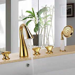 cheap Bathtub Faucets-Bathtub Faucet - Antique Ti-PVD Tub And Shower Ceramic Valve Bath Shower Mixer Taps / Three Handles Five Holes