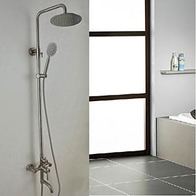 povoljno Posebne ponude-Slavina za tuš - Suvremena Nickel Brushed Sustav za tuširanje Keramičke ventila Bath Shower Mixer Taps / Nehrđajući čelik / Jedan obrađuju tri rupe