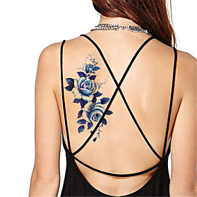 cheap Temporary Tattoos-5pcs-set-waterproof-blue-peony-temporary-tattoo-sticker-flash-tattoos