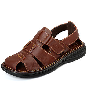 baratos Sandálias Masculinas-Homens Sapatos Confortáveis Pele Primavera / Verão Sandálias Água Preto / Castanho Claro / Casual / Ao ar livre / EU40