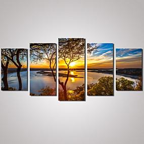 cheap Multi Panel Art-Print Rolled Canvas Prints - Landscape Leisure Photographic Traditional Modern Five Panels Art Prints