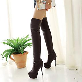 voordelige Wijdere maten schoenen-Dames Kniehoge laarzen Naaldhak Synthetisch >50.8 cm / Dij-hoge laarzen Basispump Winter Wit / Zwart / Bruin