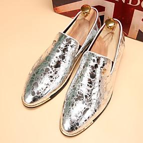 baratos Sapatilhas e Mocassins Masculinos-Homens Sapatos Confortáveis Couro Sintético Primavera / Outono Mocassins e Slip-Ons Preto / Dourado / Prata