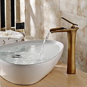 hesapli Haftalık Kampanyalar-Geleneksel Lavabo Teknesi Şelale Seramik Vana Tek Kolu Bir Delik Antik Bronz, Banyo Lavabo Bataryası