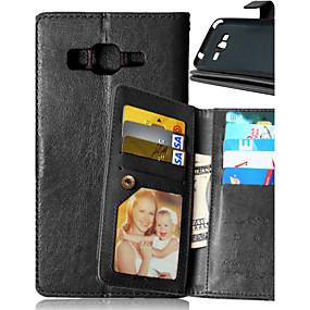 7a81ce842c96d غطاء من أجل Samsung Galaxy حالة سامسونج غالاكسي محفظة   حامل البطاقات   مع حامل  غطاء كامل للجسم لون سادة جلد PU إلى J5   J1   Grand Prime