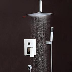 povoljno Slavine za tuš-Slavina za tuš - Suvremena Chrome Zidne slavine Brass ventila Bath Shower Mixer Taps / Jedan obrađuju tri rupe