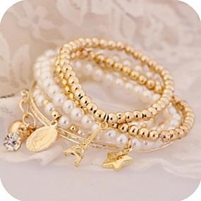 baratos Pulseira de Charme-Mulheres Bracelete senhoras Amuleto Original Vintage Festa Imitação de Pérola Pulseira de jóias Dourado Para Festa Presente namorados / Strass