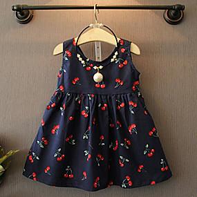 ราคาถูก ล้างสต็อก-Toddler เด็กผู้หญิง ลวดลายดอกไม้ ทุกวัน เชอรรี่ ลายพิมพ์ เสื้อไม่มีแขน ฝ้าย เส้นใยสังเคราะห์ กระโปรงชุด ขาว