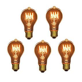 billige Glødelampe-5pcs 40W E26 / E27 A60(A19) Varm hvit 2300k Kontor / Bedrift / Mulighet for demping / Dekorativ Glødende Vintage Edison lyspære 220-240V