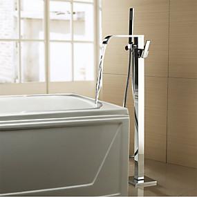 cheap Bathtub Faucets-Bathtub Faucet - Contemporary / Modern Chrome Tub And Shower Ceramic Valve Bath Shower Mixer Taps / Two Handles Two Holes
