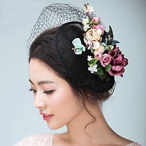 1e056d3956c len   Satén Fascinátory   Klobouky   Doplňky do vlasů s Květiny 1ks  Svatební   Zvláštní příležitosti Přílba