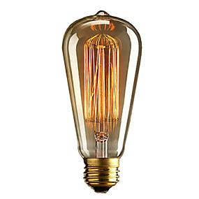 billige Glødelampe-brelong 1 stk e27 40w st64 dimmable edison dekorative pære varm hvit
