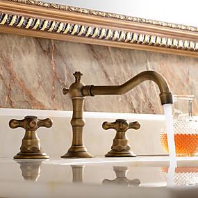 billige Ugentlige tilbud-Baderom Sink Tappekran - Utbredt Antikk Kobber Udspredt To Håndtak tre hullBath Taps