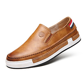 cheap Men's Slip-ons & Loafers-Men's Comfort Loafers Faux Leather Spring / Fall British Loafers & Slip-Ons Walking Shoes Gray / Yellow / Brown