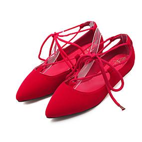voordelige Damesschoenen met platte hak-Dames Platte schoenen Platte hak Gepuntte Teen Veters Fleece Comfortabel / Enkelband Wandelen Lente / Zomer Zwart / Rood / Blauw