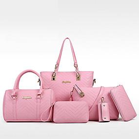 Női Táskák PU táska szettek Cipzár Fekete   Rubin   Arcpír rózsaszín cba8847219