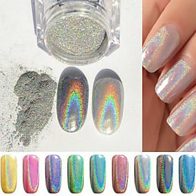 cheap Nail Art-1g box colorful laser silver mirror powder rainbow nail powder dust glitter chrome pigment nail art sequins