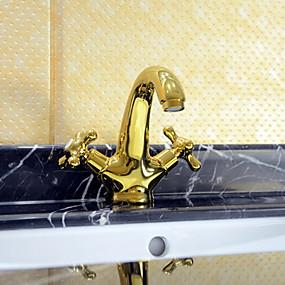 hesapli İndirim Musluklar-Ülke yaygın seramik vana bir delik iki kolları bir delik ti-pvd banyo muslukları
