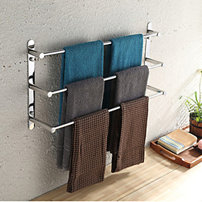 cheap sales-towel bar stainless steel 3 tier towel rack bathroom shelves wall mounted 70cm