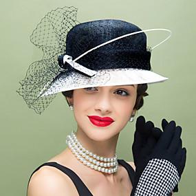 billiga Kentucky Derby Hat-Lin / Fjäder / Nät Kentucky Derby Hat / fascinators / hattar med Blomma 1st Bröllop / Speciellt Tillfälle / Casual Hårbonad