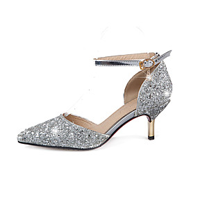 Women s Glitter Spring   Summer Heels Stiletto Heel Pointed Toe Sequin    Buckle Gold   Silver   Wedding   Party   Evening   2-3   Party   Evening d16ed90eb973