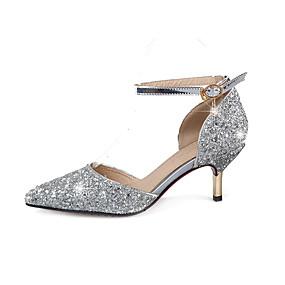 voordelige Wijdere maten schoenen-Dames Hoge hakken Naaldhak Gepuntte Teen Pailletten / Gesp Glitter Lente / Zomer Goud / Zilver / Bruiloft / Feesten & Uitgaan / 2-3 / Feesten & Uitgaan / EU40