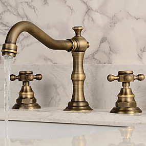 cheap Bathroom Sink Faucets-Bathroom Sink Faucet - Widespread Antique Copper Widespread Two Handles Three HolesBath Taps