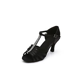 89d606c47dd09 للمرأة أحذية رقص   أحذية سالسا ستان صندل   كعب حجر كريم   مشبك كعب كوبي  مخصص أحذية الرقص أسود   بني داكن   داخلي   أداء   تمرين   متخصص
