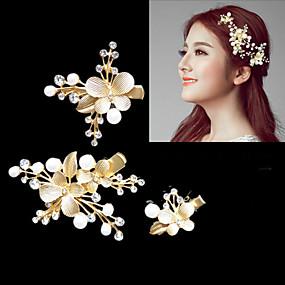 baratos Tiaras-Cristal / Liga Decoração de Cabelo / Presilha de cabelo / Grinaldas com Floral 1pç Casamento / Ocasião Especial Capacete