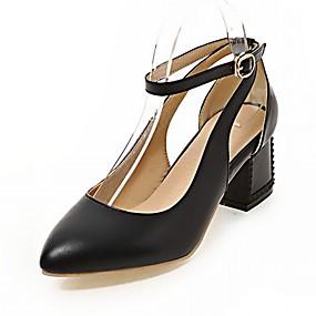 voordelige Wijdere maten schoenen-Dames Schoenen PU Kunstleer Synthetisch Lente Zomer Noviteit Comfortabel Hoge hakken Wandelen Blokhak Blok hiel Gepuntte Teen Gesp voor