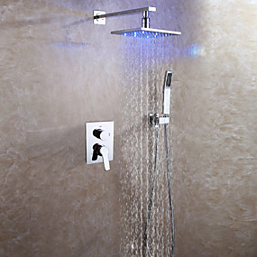 お買い得  蛇口-シャワー水栓 - コンテンポラリー クロム 壁式 セラミックバルブ Bath Shower Mixer Taps / 真鍮 / 二つのハンドル三穴