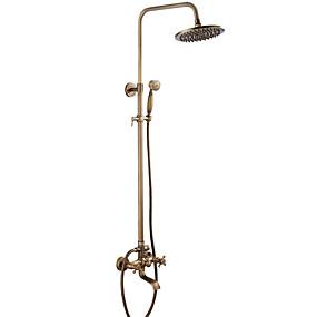 olcso Napi akciók-Zuhany csaptelep - Antik Antik bronz Kifolyócső és zuhany Kerámiaszelep Bath Shower Mixer Taps / Bronz / Két fogantyúval két lyukat