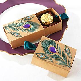 ieftine Favoruri Petrecere & Cadouri-În Formă de Cub Hârtie cărți de masă Favor Holder cu Panglici Cutii de Savoare - 50