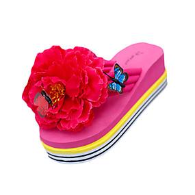 cheap Women's Slippers & Flip-Flops-Women's Slippers & Flip-Flops Wedge Heel Flip-Flops Flat Heel Round Toe Flower PU(Polyurethane) Summer Black / Yellow / Fuchsia