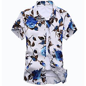 61f3b2e91 رجالي قطن قميص نحيل ياقة كلاسيكية - بوهو طباعة ورد, شاطئ أبيض XXXXL / كم  قصير / الصيف