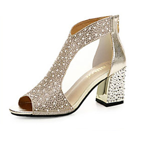 04fc0330e006 Women s Crystal Sandals PU(Polyurethane) Spring Comfort Sandals Flat Heel  Gold   Silver   EU39
