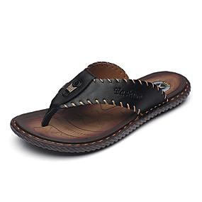 baratos Sandálias e Chinelos Masculinos-Homens Sapatos formais Pele Verão / Outono Chinelos e flip-flops Preto / Azul Marinho