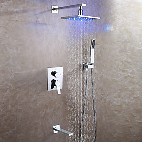 cheap Shipping Discount-Contemporary Wall Mounted Rain Shower Handshower Included LED Ceramic Valve Two Handles Four Holes Chrome , Shower Faucet