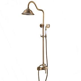 hesapli İndirim Musluklar-Duş musluk-antik / ülke / modern antika bakır duş sadece seramik vana / tek kolu iki delik banyo duş mikser musluklar
