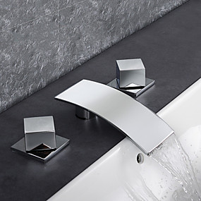 cheap Wholesale & Clearance-Bathroom Sink Faucet - Waterfall / Rain Shower / Thermostatic Chrome Deck Mounted Three Holes / Two Handles Three HolesBath Taps