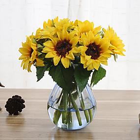 povoljno Life VC-6 grana suncokreta umjetni cvjetovi dom ukras wedding supply