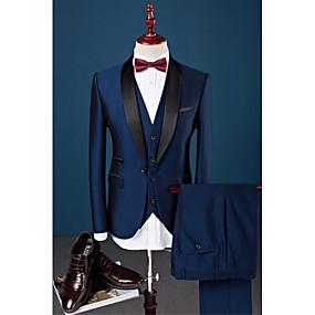 رخيصةأون Prom Suits-أزرق البحرية لون سادة قياس نحيل قطن / بوليستر / سباندكس دعوى - ياقة شال Single Breasted One-button / بدلة
