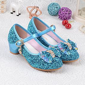 cheap Kids' Shoes-Girls' PU(Polyurethane) Heels Little Kids(4-7ys) / Big Kids(7years +) Basic Pump Crystal / Bowknot Silver / Blue Spring & Summer / EU36